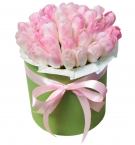 Pink tulips at a Hat Box