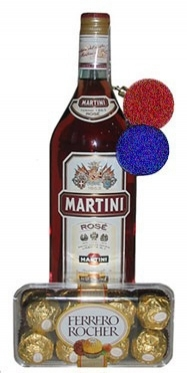 The bottle of Martini and Ferrero Rocher