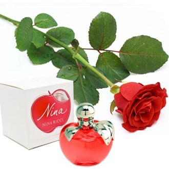 Nina Ricci - Red Apple Perfume  and a Red Rose