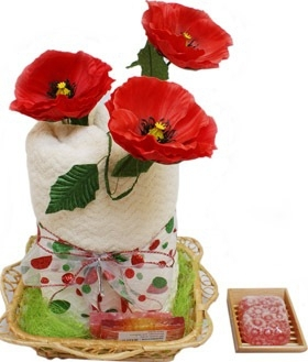 The Poppies Set - Large Towel and handycrafted Soap