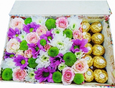 Chrysanthemums, Roses and Ferrero
