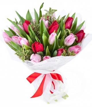 Red and Pink Tulips Bouquet
